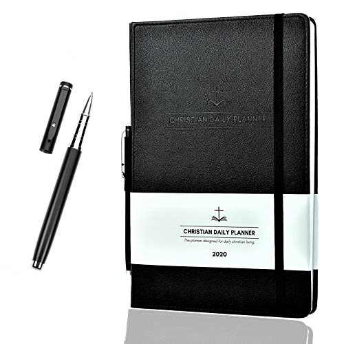 "Christian Daily Planner 2020 Weekly Monthly and Yearly Planner w/ Quality Metal Pen Achieve Personal Professional and Spiritual Goals 7"" x 10"""