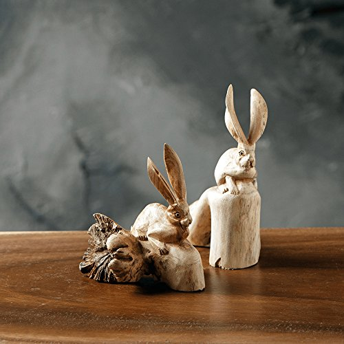 - Hand Carved Rabbit Carvings Wood Parasite ornament