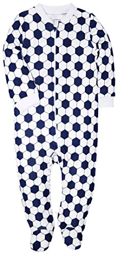 Footed Pajama Baby Boys Girls Sleeper Long Sleeve 100% Cotton Zip Front Neutral (18-24(Month), Football)