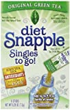 Diet Snapple Singles To Go Water Drink Mix – Green Tea Flavored Powder Sticks (12 Boxes with 6 Packets Each – 72 Total Servings)