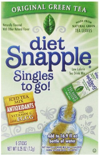 Diet Snapple Singles To Go Water Drink Mix - Green Tea Flavored Powder Sticks (12 Boxes with 6 Packets Each - 72 Total Servings)