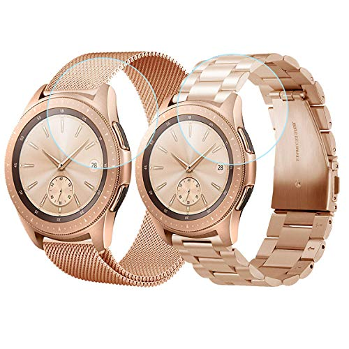 CAGOS Compatible Galaxy Watch 42mm Bands Sets, 20mm 2 Pack Stainless Steel Band+ Mesh Band Bracelet for Samsung Galaxy Watch 42mm /Ticwatch E/Garmin Vivoactive 3 Smartwatch - Rose Gold