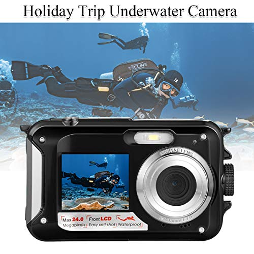 Waterproof Underwater Digital Camera for Snorkeling,Selfie Dual Screen Digital Cameras Waterproof Underwater Video Camera-Holiday,Trip (Black 1)