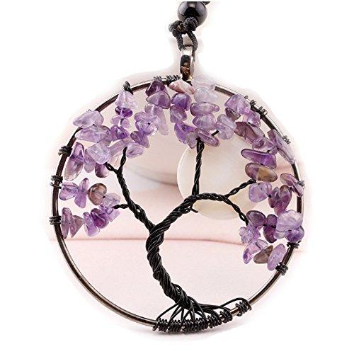 Tree of Life Pendant Necklace (0304 Moon (Pearl Purple Jade Necklace)