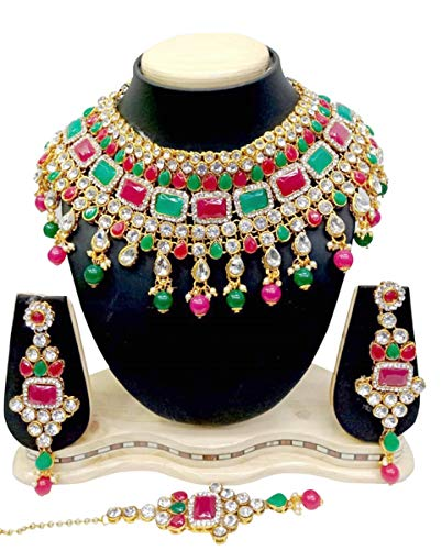 (CROWN JEWEL Indian Bridal Fashion Jewelry Wedding Gold Tone Necklace Earring Set (Multi Color))