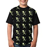 Dabbing Unicorn Skeleton Kids Summer Tshirts 3D Printed Tee Black Top X-Small