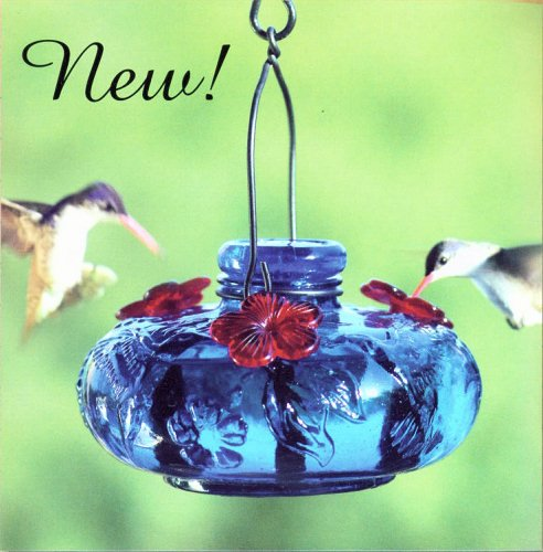 (Parasol - Bloom Calliope - Blown Glass Hummingbird Feeder - BLUE )