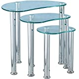 Home Discount Cara Nest Of 3 Tables, Clear Glass Modern Furniture
