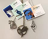Smiling Wisdom - Totem Animals Necklace Gift Set - Hunger Games Bird, Game of Thrones Dragon, Wolf - 3 Spirit Animal Gifts - Boys Girls Kids, Tweens, Teens - Birthday Favors, Valentines, Easter Gifts