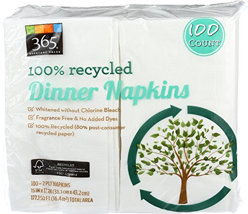 365 Everyday Value, 100% Recycled Dinner Napkins, 100 Count (Napkin Dinner Recycled)