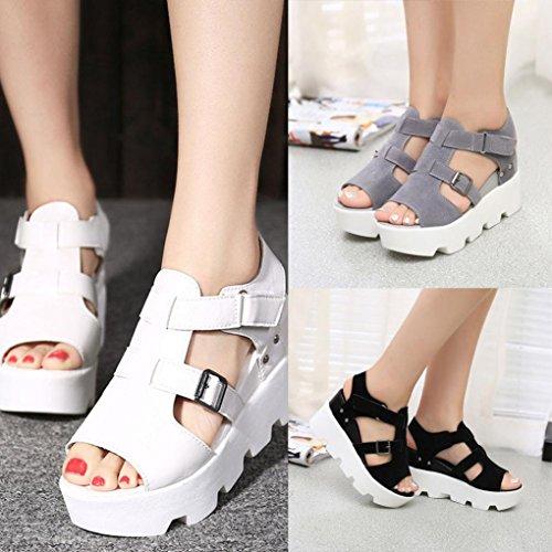 FEITONG De las mujeres Sandalias De Verano Zapatos Peep-toe High Zapatos Sandalias romanas Señoras Dar la vuelta Flops Sandalias Blanco