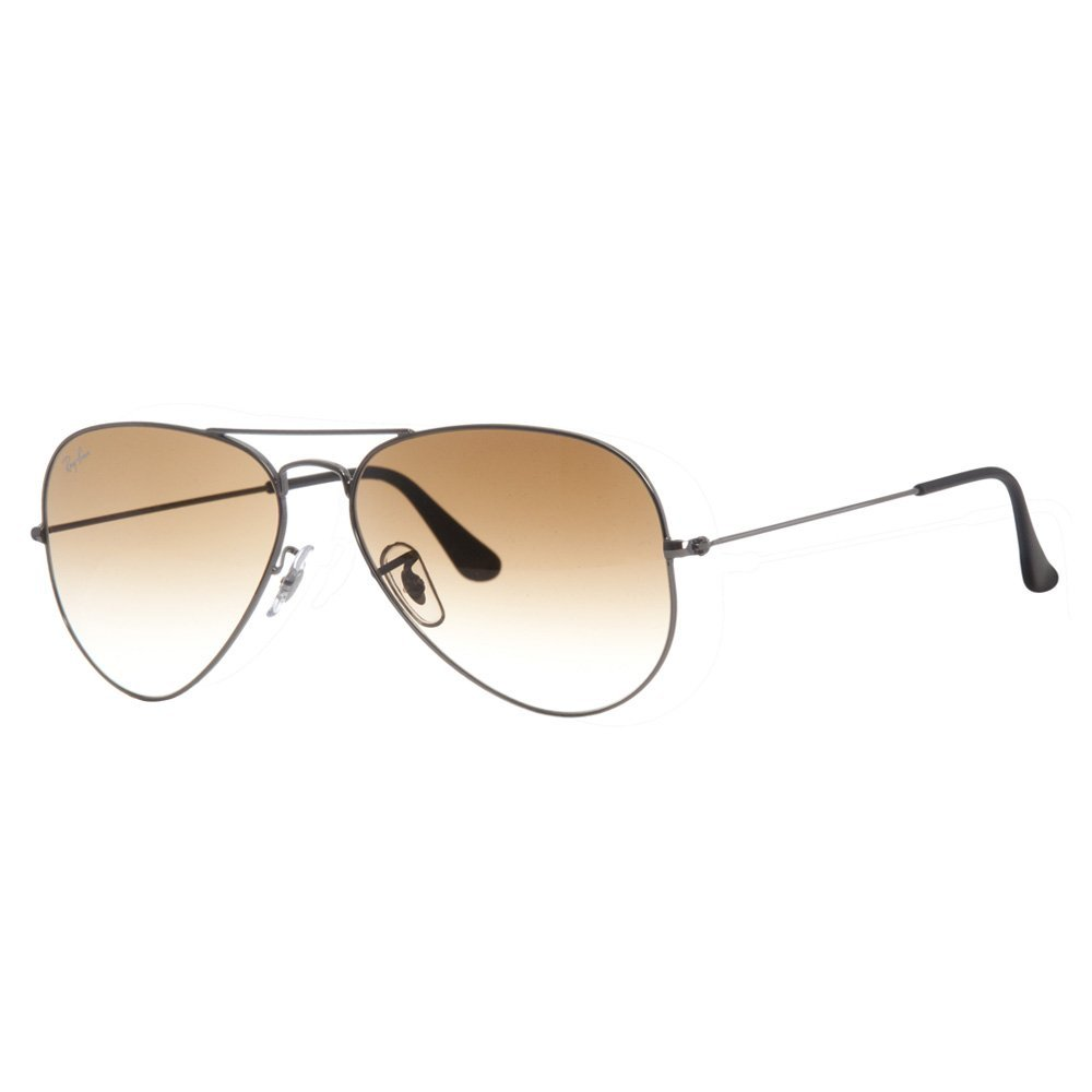 Ray-Ban 3025 Aviator Large Metal Non-Mirrored Non-Polarized Sunglasses, Gunmetal/Light Brown Gradient (004/51), 58mm