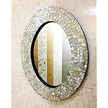 Amazon Com Wall Mirror Bedroom Mother Of Pearl Inlay Oval