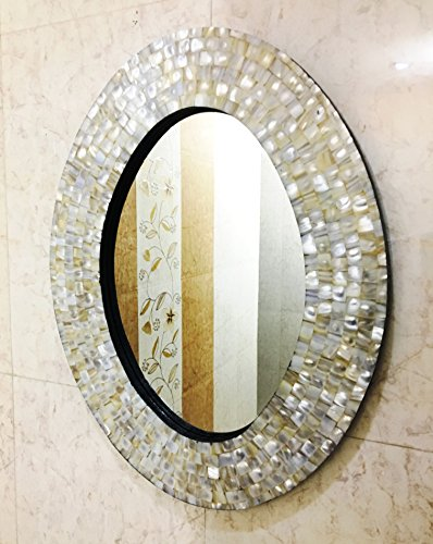 Wall Mirror Bedroom Mother of Pearl Inlay Oval Frame Decorative Home Decor by Marine Nautical Store