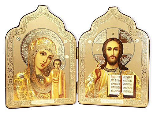 Kazan Icon (Gold Foil Christ the Teacher Madonna and Child Catholic Orthodox Russian Icon Diptych 7 2/8 Inch)