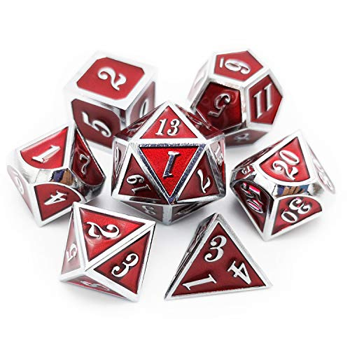 Haxtec 7PCS Metal Dice Set DND Dice for Dungeons and Dragons Games-Glossy Enamel Dice (Silver Red) ()