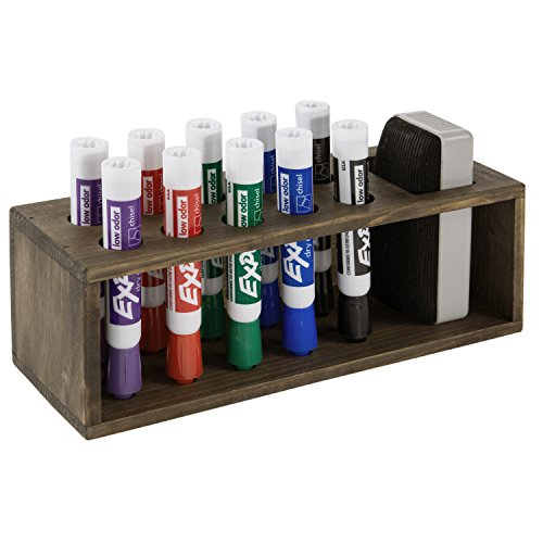 10 Slot Rustic Wood Wall Mounted Dry Erase Marker & Eraser Holder Storage Organizer, -