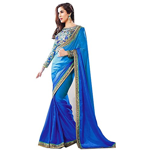 Riti Riwaz Blue Chiffon Saree With Blouse AW15SR-BDGT006