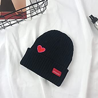 RED WINTER BEANIE HATS LOVE SIGN