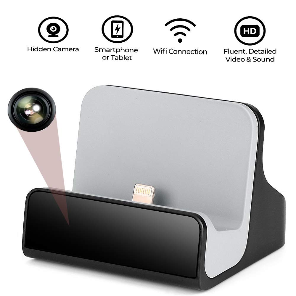 Hidden Camera Charger Dock for iPhone WiFi Live View Spy Cam with Motion Detection for Home Security (IOS Charger Dock ) by LIZVIE
