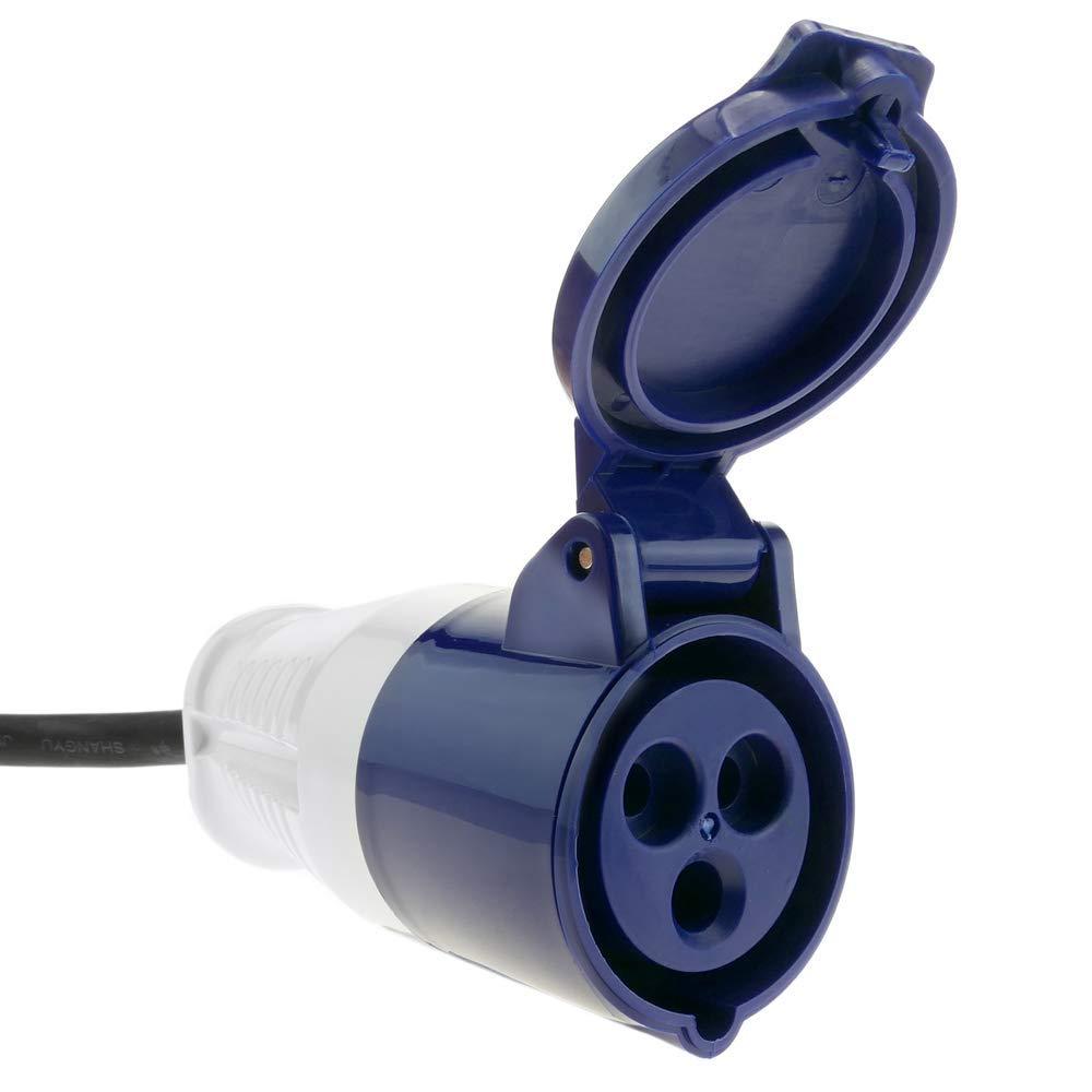 Adapter CETAC-Stecker an CETAC-Buchse 2P+T 16A 250V IP44 IEC-60309 Kabel 1m BeMatik