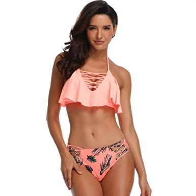 e6aee33fd2 Amazon.com  Mommy and Me Swimsuit Youngh Baby Girls Print Sexy Bikini  Swimsuit Set Family Matching Mother Girl Swimwear  Clothing
