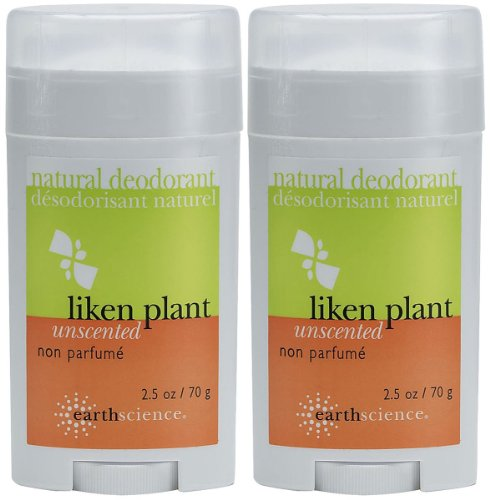 Earth Science Liken Plant Deodorant, Unscented - 2.5 oz - 2 pk