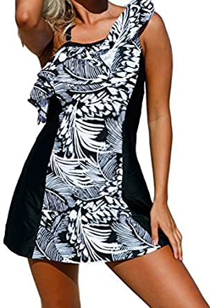 YeeATZ Women Retro Monochrome Jungle Swim Dress with Shorts