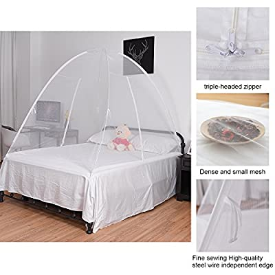 Goplus Folding Mosquito Net Portable Pop up Tent Mesh Canopy Curtains for Bed Home Bedroom Outdoor Camping Anti Mosquito Netting w/Bottom, White