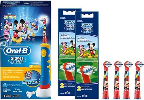 SPAR-SET: Braun Oral-B Stages Power Kids Elektrische Kinderzahnbürste Advance Power Kids 950 mit 5 Stages Power Aufsteckbürsten Micky Maus