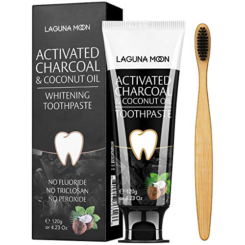 Activated Charcoal & Coconut Oil Teeth Whitening Toothpaste, 100% Natural Charcoal Toothpaste for Whitening Teeth…