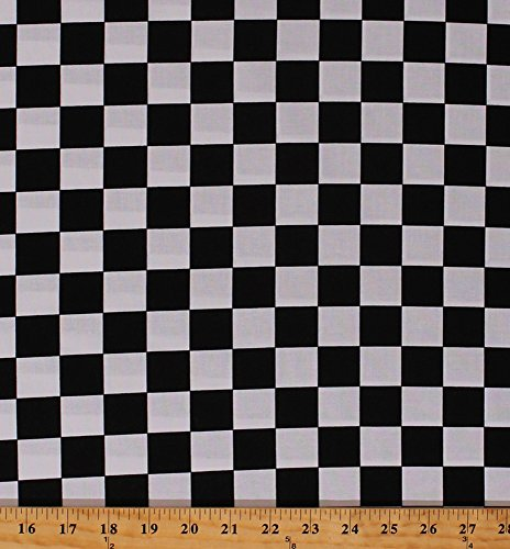 Cotton Racing Check Black and White Checks Checkers Checkered Mardi Gras Cotton Fabric Print by The Yard (7803-01)]()