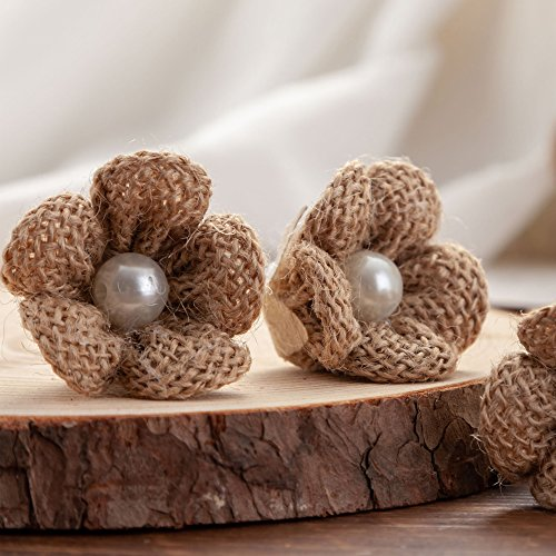 20pcs Handmade Burlap Natural Hessian Flowers Jute Stickers Crafts for Gifts Package Headband Home Decorations DIY Vintage Rustic Wedding Party Valentien's Christmas Embellishments (Pearl Flower) for $<!--$13.99-->