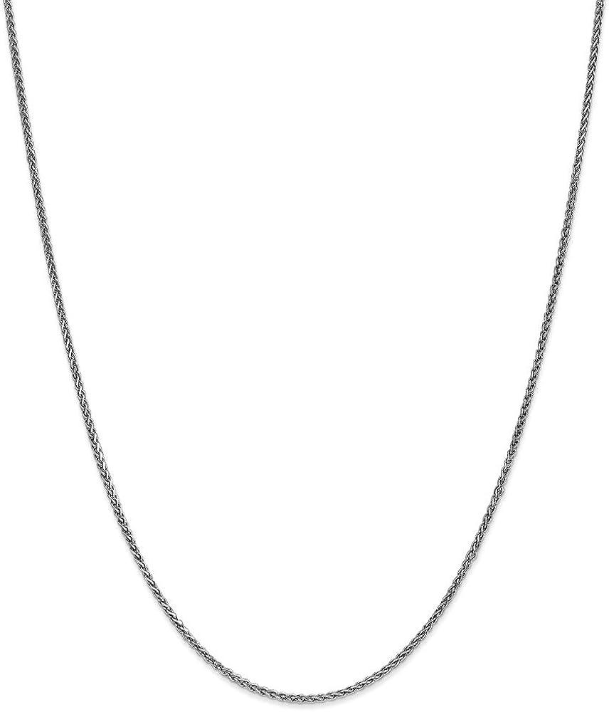 14k White Gold 1.4mm Solid Diamond-Cut Spiga Chain