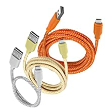 Micro USB Cable, iOrange-E™ 3 Pack Reversible Cable Micro USB Charger, High Speed Charge and Data Sync for Samsung Galaxy S6, Note 5, HTC One M8, M9 and More Android Cable (Silver, Gold, Orange)