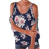 UONQD Damen Blusen Basic V-Ausschnitt Top Horn Hülse Hemd Chiffon Farbe (Small,Navy-A)