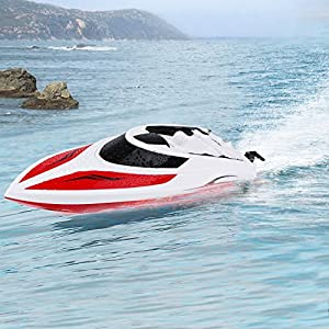INTEY 1:28 Rc Boats 2.4G Remote Control Boat with 180º Flip Function, LCD Display, Double Hatch Waterproof Racing Boat for Pool & Outdoor Use
