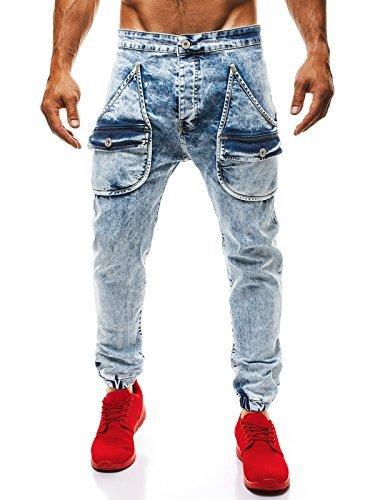 OZONEE Hombre Holgado Jogg Jogger Pantalones Vaqueros Corte ...