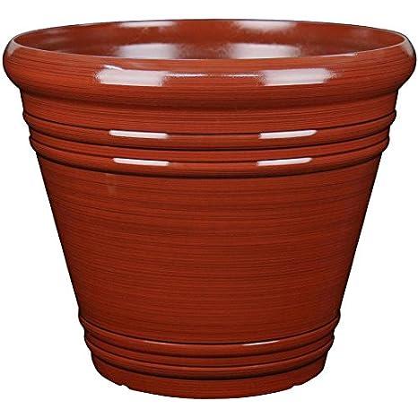 Garden Treasures 16.3 In X 14.37 In Red Resin Planter