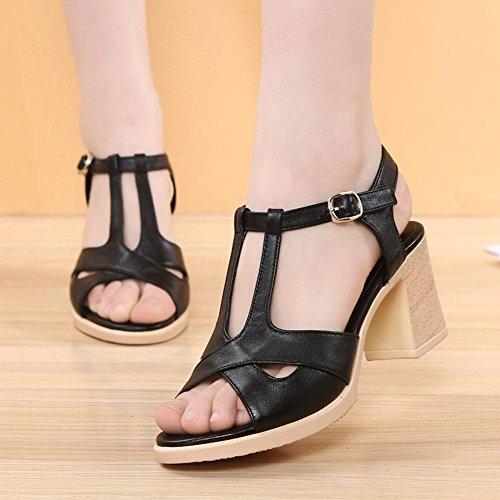 Heeled Sandals High black Sandals YC Women'S 36 Girls Comfortable Summer Silky Bottom Leather Women'S Skid L Fish Shoes qZxHCZnFw0