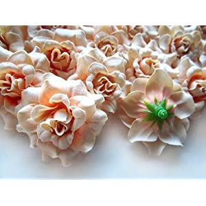 "(100) Silk Pearl Cream Roses Flower Head - 1.75"" - Artificial Flowers Heads Fabric Floral Supplies Wholesale Lot for Wedding Flowers Accessories Make Bridal Hair Clips Headbands Dress 3"