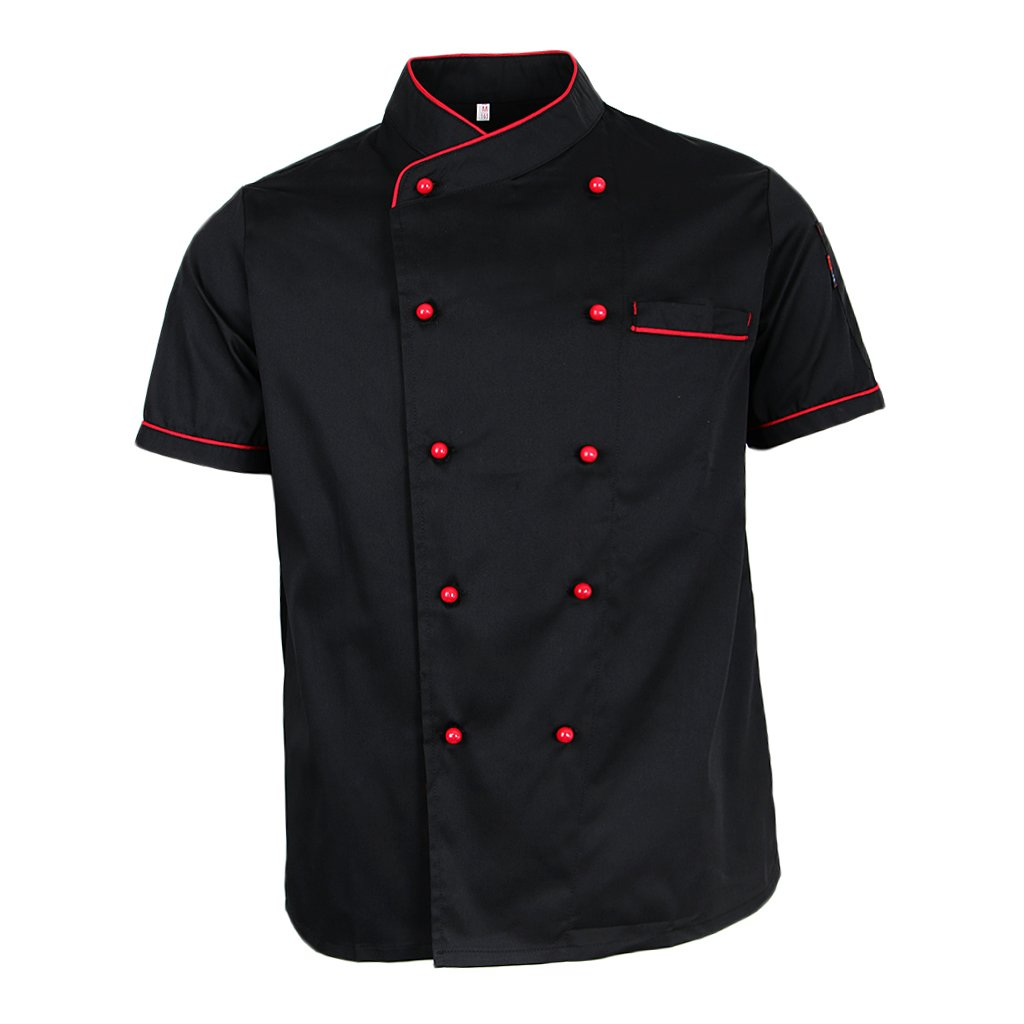 Fityle Chef Jacket Uniform Short Sleeve Hotel Kitchen Chefwear Cook Coat - Black, M