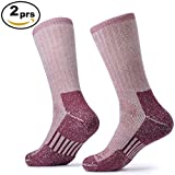 SOLAX 2 Pairs Merino Wool Athletic Crew Hiking Socks for Men