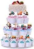 Four Theme Cupcake Toppers Pack-Include Ocean Sea Mermaid Theme 24 Sticks-Dinosaur Jurassic World 24 Picks-Jungle Safari Zoo Animals Theme 24 Picks-Construction Truck Party Cake Decor 24 Picks-Collection for Kids Birthday Decor Girls Boys Baby Shower Wedd
