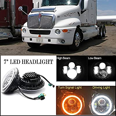 For Kenworth T2000 7 Inch LED Round Headlight Halo Ring Angel Eyes Hi/Low Double Beam DRL Amber Turning Signal Lights Replacement 6012 6014 6015 H6024 H6017 6000K 60W 2Pcs