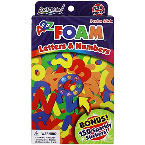 ArtSkills A2Z Foam Letters and Numbers, 228 Pieces, 150 Sparkly Stickers (Sparkly Letters)
