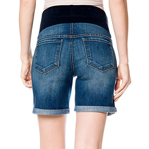 Oh Baby by Motherhood Mid-Belly Distressed Jean Shorts Small