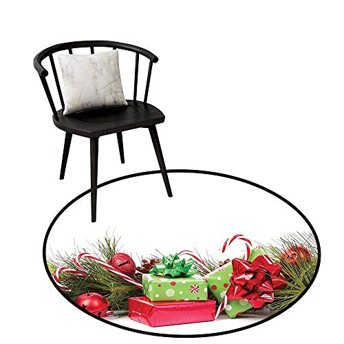 Non-Slip Mats Circular Carpet Mats Christmas,Ornate Boxes with Dots Candy Cane Festive Wrapped Seasonal Elements Surprise,Fern Green Ruby,Shoe Scraper Door Mat Living Room Rug 24