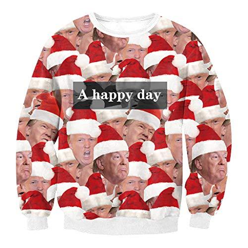 Colorful House Women Men Ugly Christmas Jumper Sweater, 3D Digital Print Sweatshirt(Funny Christmas,Small)
