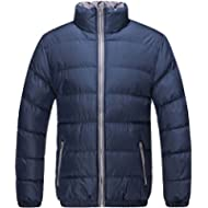 [Sponsored]U2Wear Men's Heavy Quilt Winter Jacket Classic Short Puffer Water Resistant Bomber Coat